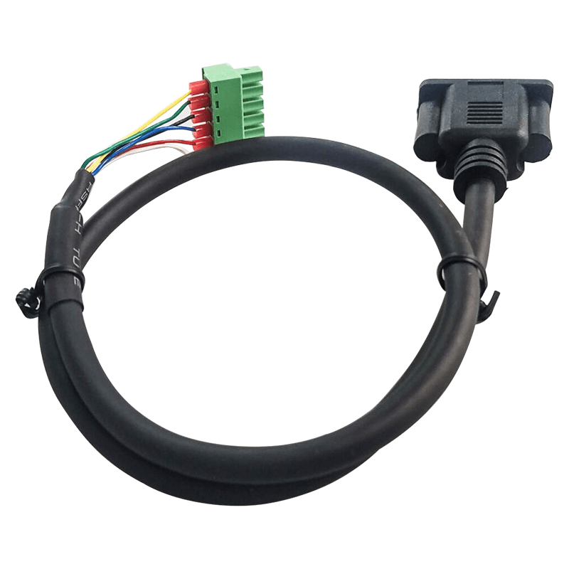 VGA HDB 15P Female Moulded to 3.81mm Terminal Block Male Straight 6P Cable Assembly